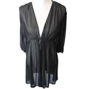 Oscar de la Renta Pink Label Sheer Black Robe